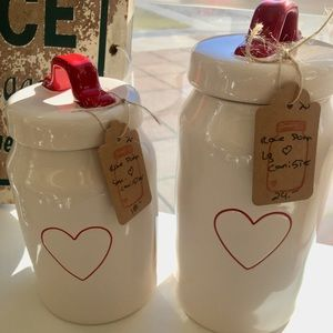 Rae Dunn red heart canisters